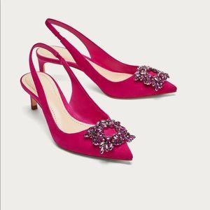 NWT Zara Fuchsia Pink Beaded Slingback Heel Shoes